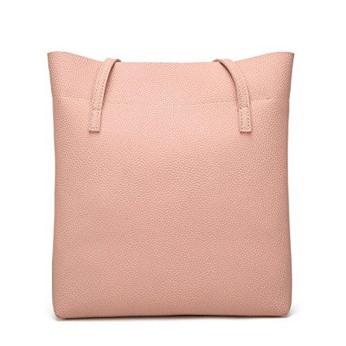 Frauen-Damen-große Kapazität PU-lederner Tote-Handtaschen-Schulter-Kurier-Beutel Pink