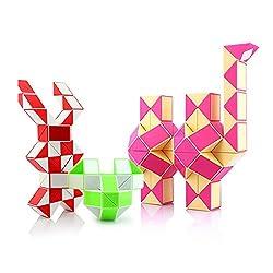 HJXDtech -Gute Qualität Intellekt Spielzeug 3 Stück magische Schlangen Twist Stab Puzzle Sammlung von 36 und 48 und 72 Wedges Magische Herrscher