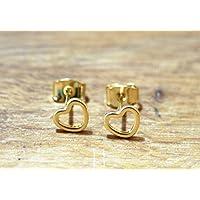 Kleine Herzen ~ Vergoldete Ohrstecker 0,5cm, ein süßes Geschenk für die Schwester oder beste Freundin