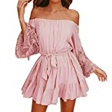Kleid Damen Elegant Btruely Boho Abendkleid Sommerkleid Strandkleid Vintage Partykleid A-Line Cocktailkleid Frauen Schulterfrei Kleid Volant Kleid (XL, Rosa 1)