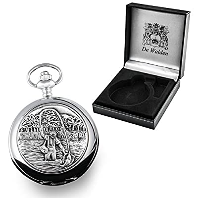 50th Birthday Gift, Engraved Mother of Pearl Pocket Watch with Pewter Fly Fishing Case in Gift Box from The Great Gifts Company