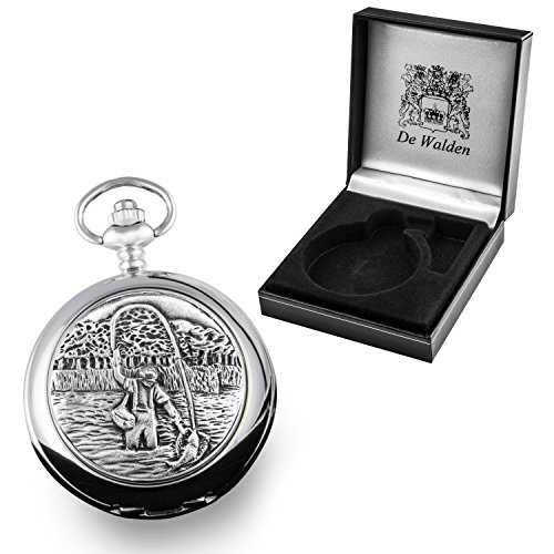 50th Birthday Gift Engraved Mother Of Pearl Pocket Watch With Pewter Fly Fishing Case In Box From The Great Gifts Company