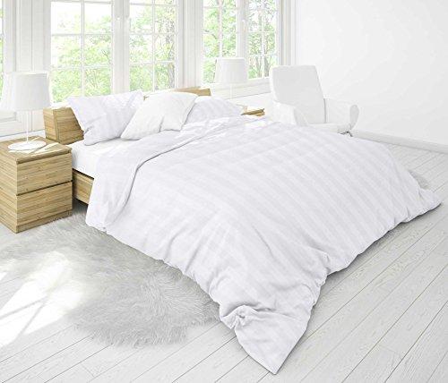 PremiumShop321 P.K-Collection Mako-Damast Bettwäsche 100% Baumwolle 28mm Streifen YKK Reißverschluss (weiß, 135x200) - Damast Streifen Bettbezug