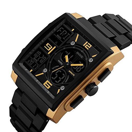 Drei Zeitzone/Multifunktio Outdoor Sport Uhren/50M Wasserdicht/LED Licht/Weckerfunktion /Kalender (Gold)