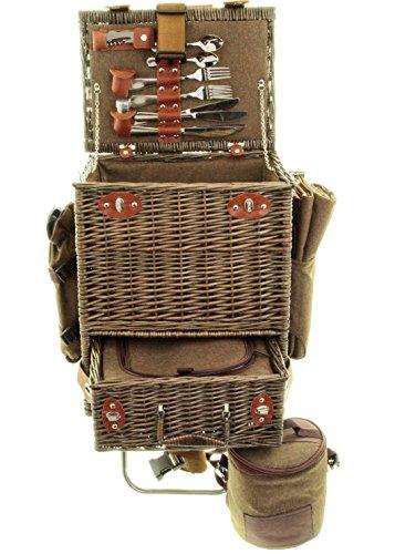 Riesiger Picknickkorb Picknickkoffer mit Trolley Kühltasche Decke uvm