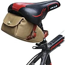 "Tourbon Borsa sottosella per bicicletta, impermeabile, in tela e cuoio, Bicycle Saddle Bag, Khaki, 7.87"" x 4.53"" x 3.35"""