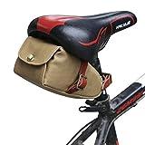 Tourbon Leinwand und Leder Strap Fahrrad Satteltasche Sitz Pack Tasche (Khaki)