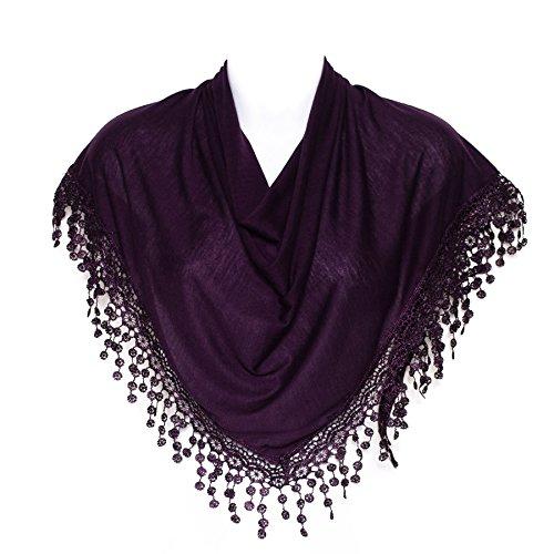 Hat To Socks Stilvolle Dark Purple Dreieck Klöppeln Gesäumten Damen Frauen Schal Schal Verpackung -