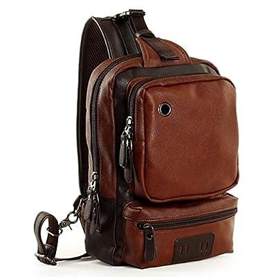 Yilooom Men's Unbalance Chest Pack PU Leather Multipurpose Backpack Crossbody Shoulder Bag Travel Sling Bag