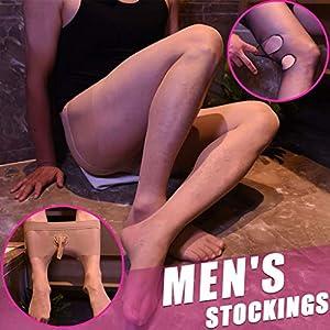 Marico Nahum Herren Footless Strumpfhosen Nylon Strumpfhosen Mantel Open Sexy Unterwäsche