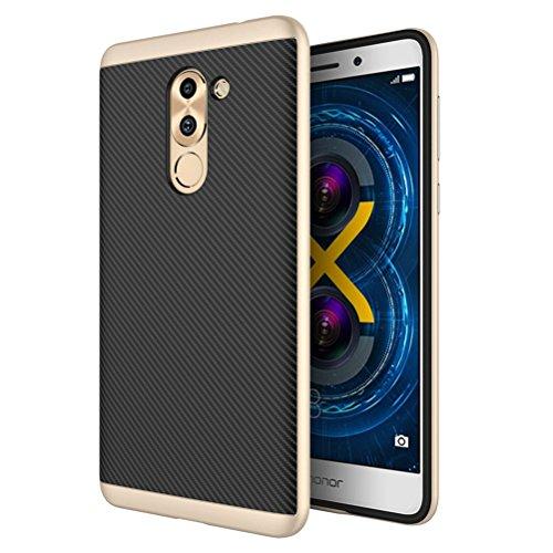 Huawei Honor 6X Hülle, HICASER Luxus Carbon Fiber [stoßdämpfende] TPU Case + Flexible PC Bumper Frame Handytasche Schutzhülle für Huawei Honor 6X Gold