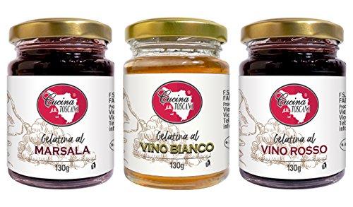 Tris di gelatine assortite per antipasti e formaggi: vino rosso, vino bianco, marsala. 3x130g produzione artigianale Cucina Toscana