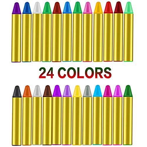 Emooqi Gesichtsfarbe, 24 Farben Kinder Schminkstifte Gesicht Körper Malerei Kits Sicher und Ungiftig Kinderschminke Set mit 4 Schablonen,Ideal für Fasching,Cosplay,Themenpartys - Geschenk für - Crayon Kostüm Lila