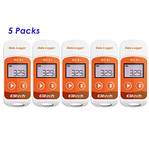 Elitech RC-5+ PDF Temperature Data logger USB Temp Recorder 32000 Readings  High Accuracy,Directly Report Reading(5Packs)
