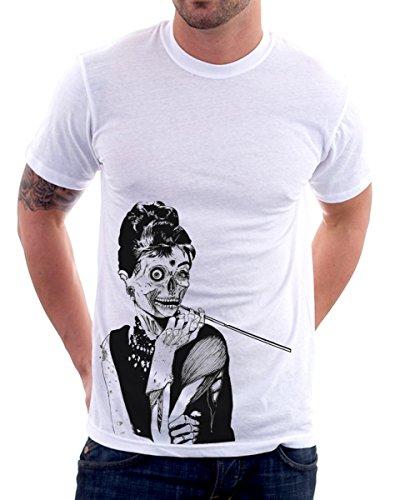 t-shirt Audrey Hepburn zombie S M L XL XXL maglietta by tshirteria bianco