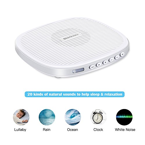 Macchina di rumore bianco, macchina portatile audio di sonno con 20 suoni di rilassamento, volume regolabile Professionale Snooze White Noise Machine Portatile per neonati, bambini, adulti, neonati (white noise machine)