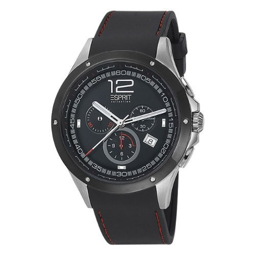 Esprit el101421f01 Stainless Steel Case Black Calfskin Mineral Men's Watch