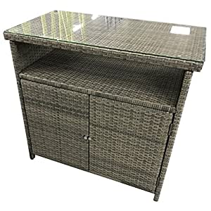 polyrattan sideboard 90x50x84cm toledo gartenschrank gartenregal mit glasplatte garten. Black Bedroom Furniture Sets. Home Design Ideas