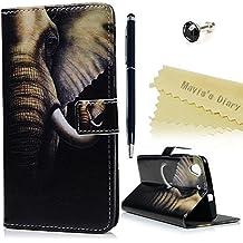 Huawei Y6 II Funda Libro PU Leather Cuero Suave - Mavis's Diary Carcasa Con Flip Case TPU Gel Silicona,Cierre Magnético,Función de Soporte,Billetera con Tapa para Tarjetas - Diseño de elefante