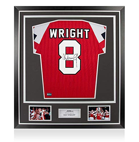 This superb replica Arsenal shirt was personally signed by Gunners legend Ian Wright during a private signing session organised and conducted by one of Icons' trusted partners. The shirt comes in Icons distinctive and sleek Classic Frame, a sturdy ye...