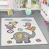 Tappeti gioco per bambini, motivo: animali (gufi ed elefante), a pelo corto, colore: crema e fucsia, 200 x 280 cm