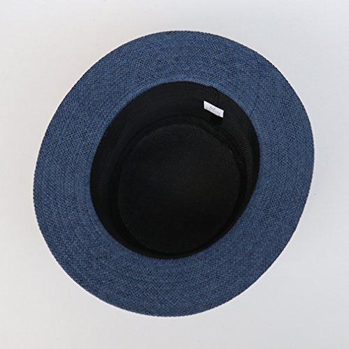 Bigood Chapeau Fedora Femme Homme Paille Panama Peche Randonnée Camping Plage 56-57cm Bleu