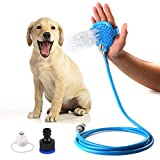 #5: Inditradition Pet Bathing Shower Sprayer & Massage Scrubber | Handheld Pet Bathing Tool, 7.5 Feet Hose Pipe with 2 Faucets (Blue)
