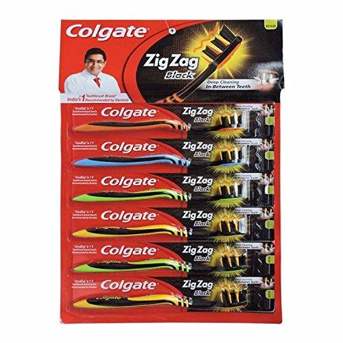 nexxa Colgate Zig Zag Schwarz Soft Zahn-Bürste 6+ 1gratis Zahnbürste Tiefe Reinigung zwischen den Zähnen Medium