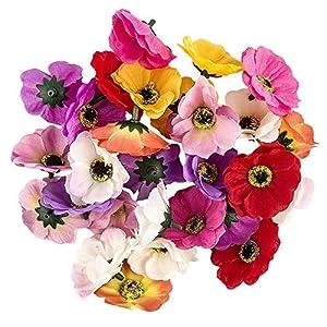 Ideen mit Herz Deko-Blüten, Kunstblumen, Blüten-Köpfe, Verschiedene Sorten, ca. Ø 4-5 cm (Anemone – bunt – 27 Stück)