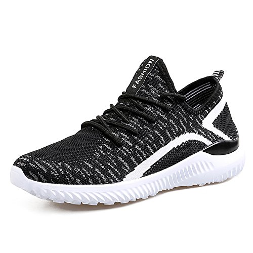 JEDVOO Uomo Scarpe da corsa Ginnastica Outdoor Basse Sportivo Running Basket Sneakers Casual Uomo Nero