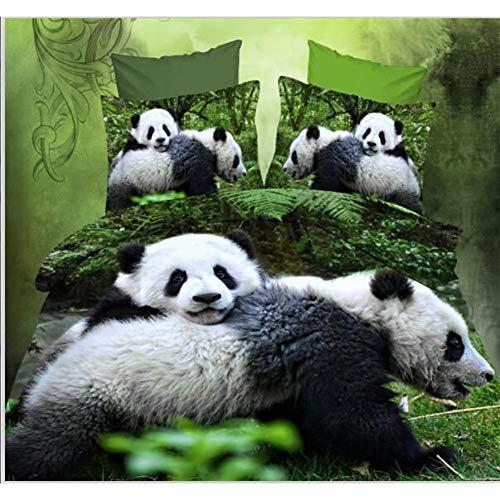 JSDJSUIT Bettwäsche gesetzt Panda Gigante Queen Format Dei Capretti Ragazzi 3D-Set von Biancheria Da Letto Set Copripiumino Letto Copriletto Federe-Twin Set 4tlg