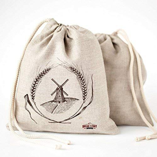Pan bolsas de lino natural, 2 unidades, 30x40cm ideal para pan casero, sin blanquear, reutilizable,de almacenamiento de alimentos almacenamiento para Artisan pan – panadería y Baguette