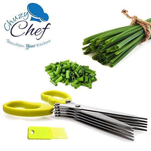 Kräuterschere Schnittlauchschneider Küchenhelfer Kräuter Schneider - Chuzy Chef Kitchen Gadget Küchenschere für Kräuter Schere für Kräutergarten mit Reinigungsbürste