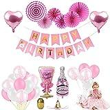 CAODANDE Palloncino in Lattice Rosa Palloncino Compleanno Pellicola in Alluminio Palloncino Amore Set Decorazione Festa di Compleanno Articoli per Feste