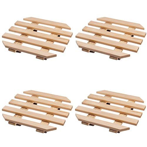 4 x Plante Roller en bois 35 x 35 cm Octaèdre Hêtre avec 4 roulettes pivotantes Roll Soucoupe Set économique