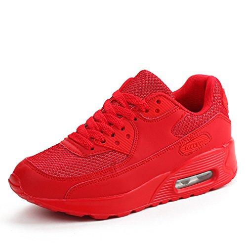Atmungsaktive laufende Turnschuhe Damen beiläufige Art- und Weiseeignung-Trainer-gehende Schuhe (38 EU, Rot) -
