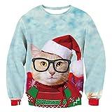 FRAUIT Nette kleine Katze im Haus 3D Drucken Unisex Herren Pullover Langarmshirt Weihnachtspullover Winter Loose Jumper Santas Kleidung Tops Outwear Coat Warm Bequem Bluse (XXL, T-Rot2)