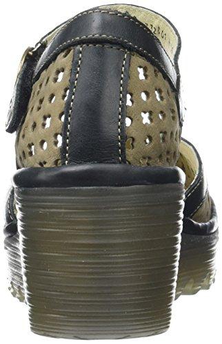 FLY London Yadu732, Sandales Compensées   Femme Vert (Khaki/Black 001)
