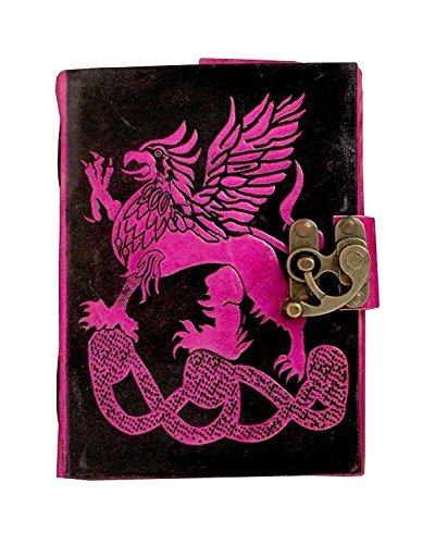 tuzech Pure Real Vintage Hunter piel papel hecho a mano cuaderno diario para oficina casa a escribir poema actualización diaria con atractivo y de bloqueo de metal grabado dragón 7pulgadas (rosa)
