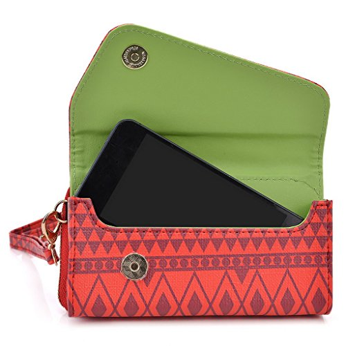 Kroo Tribal Urban Style Housse cas Wall Let Embrayage Convient pour Samsung Galaxy Young 2 White with Mint Blue Rouge (rosso)
