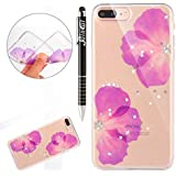 Coque iPhone 7 Plus, iPhone 8 Plus Coque Silicone Diamant, SainCat Ultra Slim Transparente Silicone Coque Cover pour iPhone 7/8 Plus, Bling Bling Glitter Ultra Slim Transparente Antichoc Soft Gel TPU Cover Coque Caoutchouc Transparent Silicone Case, Coque Souple Housse Silicone Ultra Mince Shockproof Shell Ultra Thin Bumper Case Skin Étui Case Coque Anti Choc Housse Bumper Cover pour iPhone 7/8 Plus 5.5-Violet