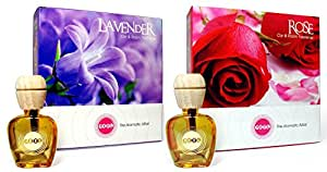 Feel Good BEST ORGANIC CAR AIR FRESHENER Perfume Combo Offer - Lavender - FRESH FLORAL SCENT   Rose - FRESH FLORAL FRAGRANCE - Liquid Diffuser - 10ml each - RE-FRESHEN UPTO 45 DAYS with each Natural Car Fragrance