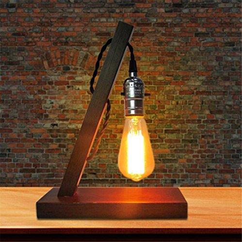 ELEGENCE-Z Tischlampe Retro Vintage Holz Holz PersöNlichkeit Kreative Old-Fashioned Kaffee Schreibtischlampe Industrie Wind Einfache...