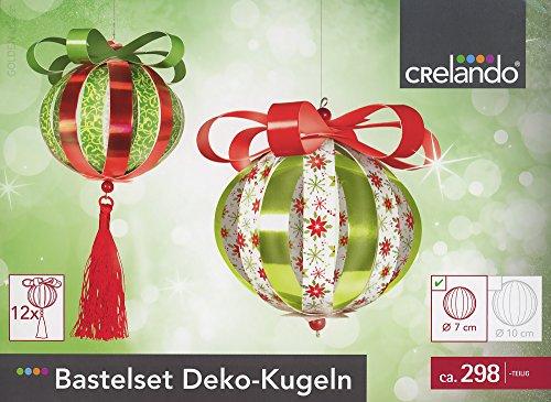 CRELANDO® Bastelset Deko-Kugeln klein Ø7cm, 298-teilig (rot / grün / weiß)