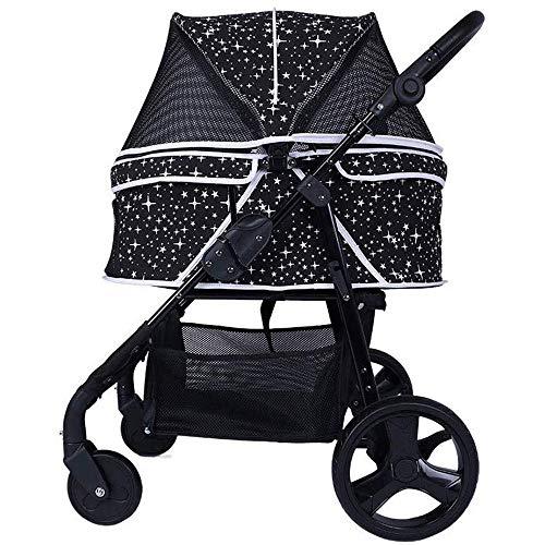 CWTC Pet Kinderwagen for kleine Hunde/Katzen, leicht zu falten, mit großem Speicher-Korb Multi-Speed   verstellbare Armlehne Max 30kg (Color : Black) -