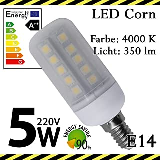 ALMIPEX E14 LED Lampe Korn 5W (350lm - 4500 K - Weiß - 33 x SMD 5050 - 270º Abstrahlwinkel - E14 Sockel - 230V AC - 5 Watt - Ø 32×90 mm)