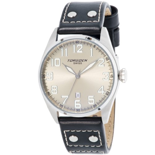 Torgoen-T28102-Gents-Watch-Quartz-Analogue-Silver-Dial-Black-Leather-Strap