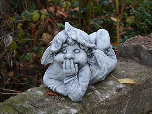 """D945 Lustiger Gnom ,,ich liege hier und platze vor Lachen"""" Troll Gartenfigur Steinfigur - 2"""