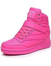 UBFEN Zapatillas de Cuña para Mujer Botas Botines Alta Zapatos Deportivos Elevador Interior Talón Plataforma 7cm Sneakers Wedges Blanco Negro Rosa