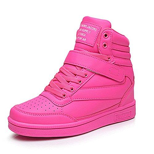 UBFEN Damen Schuhe Sneakers Wedges Keilabsatz 7cm Sportschuhe Stiefel Knöchel Klettverschluss High Top Casual Stiefeletten Lässige Weiß Schwarz Pink EU 36 Pink (Hi Schuhe Mono)